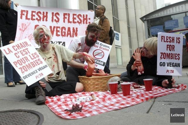 Les zombies de PETA se sont installés à... (Étienne Ranger, LeDroit)
