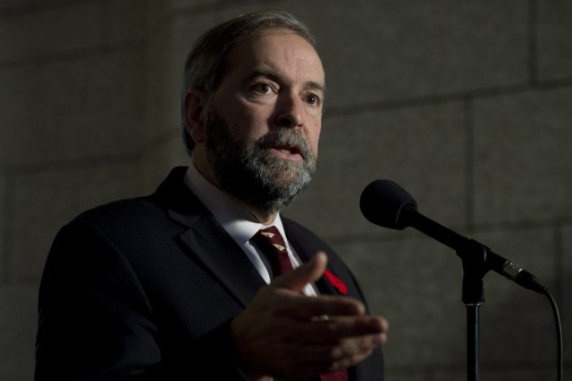 Le chef néo-démocrate Thomas Mulcair... (Adrian Wyld, La Presse Canadienne)