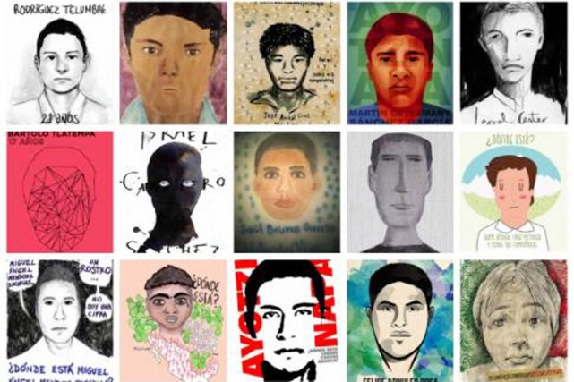 Portraits de 15 des 43 étudiants portés disparus.... (ILLUSTRATIONS ILUSTRADORES CON AYOTZINAPA)