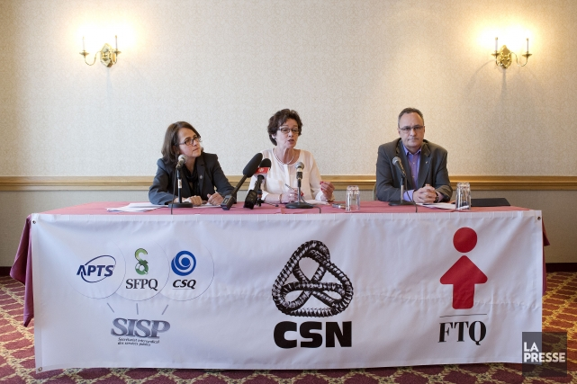 Le Front commun regroupant la CSN, la FTQ... (PHOTO ROBERT SKINNER, LA PRESSE)