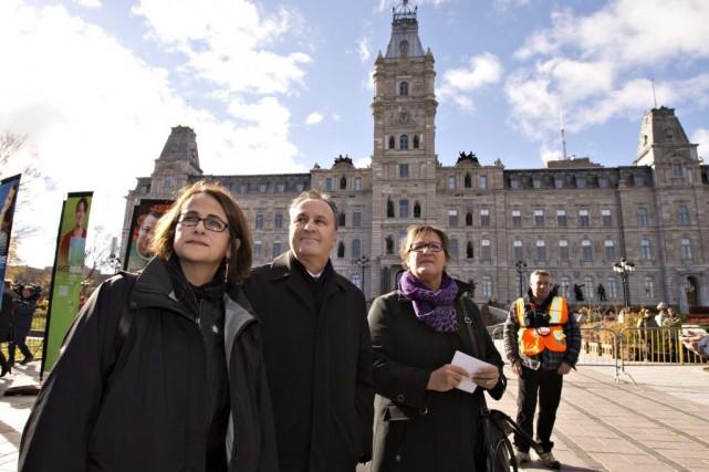 Francine Lévesque (CSN), Daniel Boyer (FTQ) et Lucie... (La Presse Canadienne, Jacques Boissinot)
