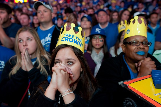 Ces fans des Royals de Kansas City avaient... (Photo Sait Serkan Gurbuz, Reuters)