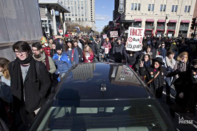 Une manifestation contre l'austérité à Montréal le 31... (Photo Patrick Sanfacon, La Presse)