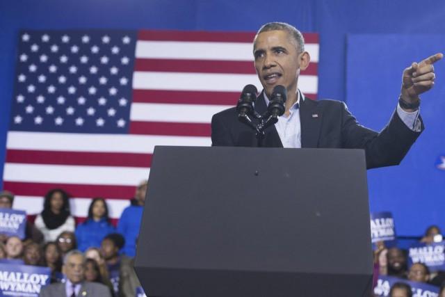 Barack Obama, lors d'un événement organisé pour le... (PHOTO ARCHIVES AFP)