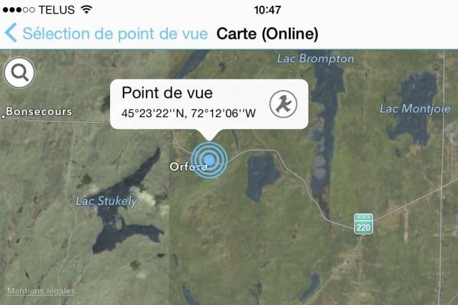 Système de reconnaissance géographique, PeakFinder affiche les noms et les...