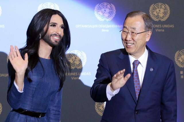 Le secrétaire général des Nations unies, venu dans... (PHOTO RONALD ZAK, AP)
