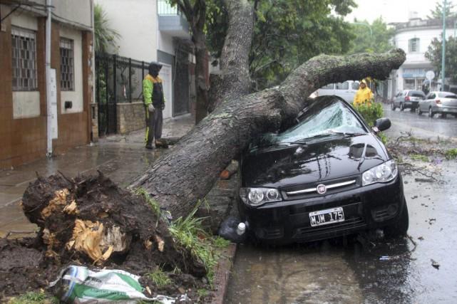 Le mauvais temps, mêlant fortes pluies et vent, qui touche la province de... (Photo: AFP)
