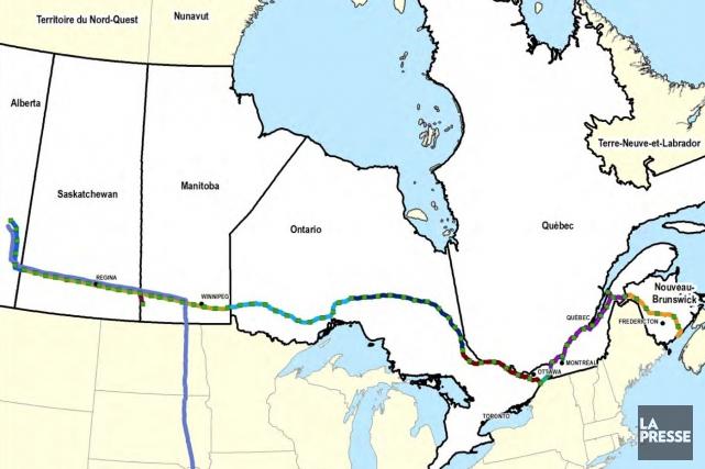 Carte générale du projet proposé et des oléoducs... (TransCanada)