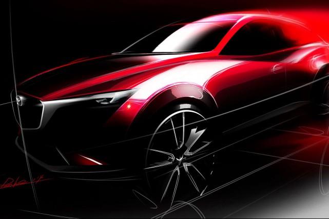 Un avant-goût du Mazda CX-3 avant son dévoilement,... (Photo fournie par Mazda)