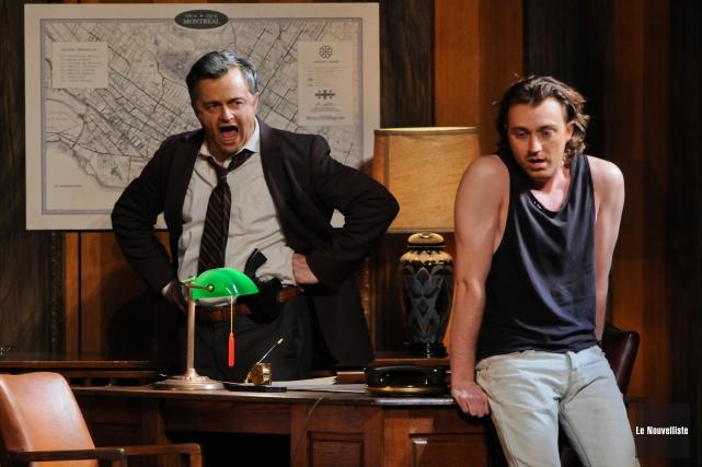 L'intense confrontation entre Marc Béland, à gauche, en... (Photo: François Gervais Le Nouvelliste)