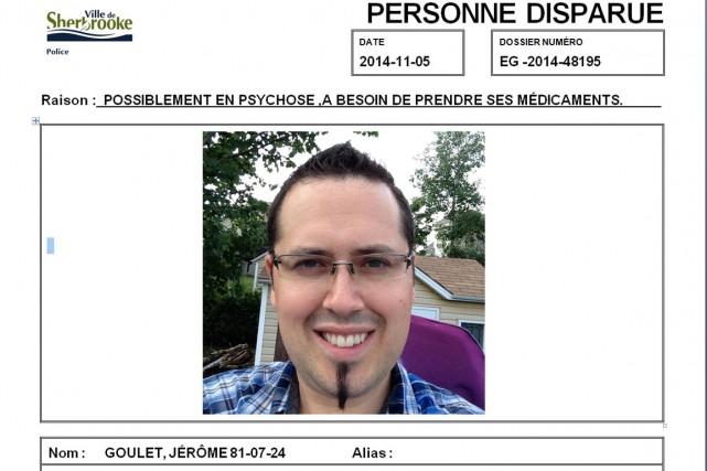 Les proches de Jérôme Goulet et le Service de police de Sherbrooke le... (Photo fournie par le SPS)