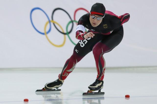 La patineuse de vitesse allemande Claudia Pechsteina toujours... (Photo Adrian Dennis, archives AFP)