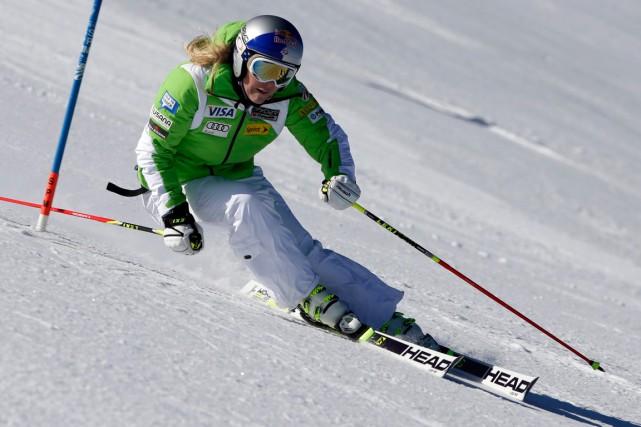 Lindsey Vonn lors d'une descente d'entraînement en Autriche,... (Photo Matthias Schrader, archives AP)