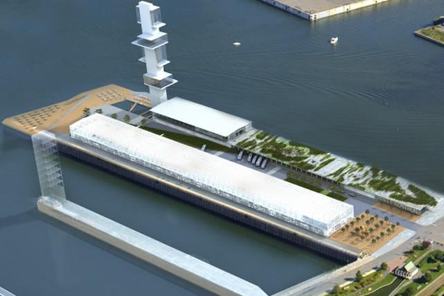 Le projet de gare maritime que caresse le Port de Montréal prévoit l'érection... (ILLUSTRATION FOURNIE PAR LE PORT DE MONTRÉAL)