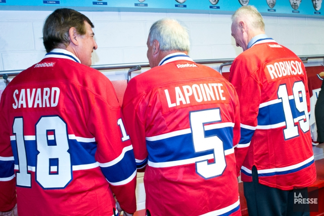 Serge Savard, Guy Lapointe et Larry Robinson.... (PHOTO HUGO-SÉBASTIEN AUBERT, ARCHIVES LA PRESSE)