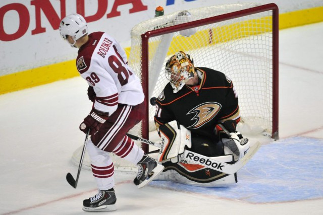 Mikkel Boedker... (Photo Gary A. Vasquez, USA TODAY Sports)