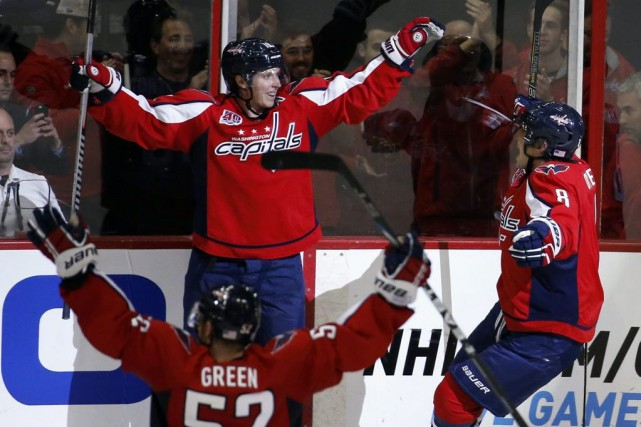 Les Capitals de Washington ont fêté une victoire... (Photo Alex Brandon, AP)