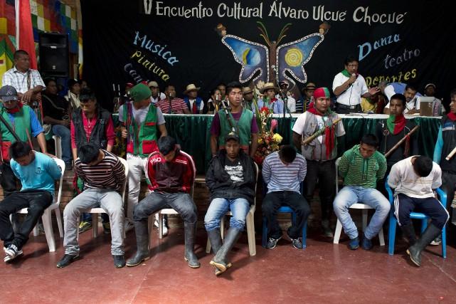 Les sept Farc, dont deux mineurs, étaient jugés... (Photo LUIS ROBAYO, AFP)