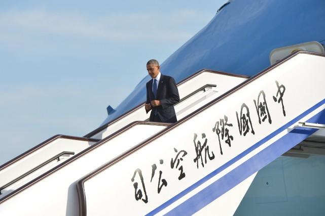 Le président américain Barack Obama est arrivé lundi matin à Pékin, première... (Photo MANDEL NGAN, AFP)