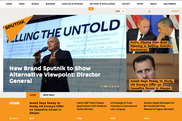 L'objectif de Sputnik est de «montrer un monde... (Capture d'écran de Sputniknews.com)