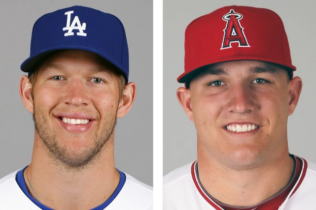 Clayton Kershaw (à gauche) et Mike Trout (à... (Photo AP)