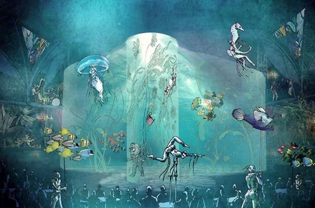 Un des tableaux dunouveau spectacle duCirque duSoleil, Joyà,... (Dessin fourni par le Cirque du Soleil)