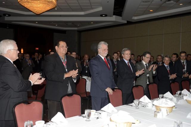 La présence du premier ministre Philippe Couillard et... ((Photo Jeannot Lévesque))