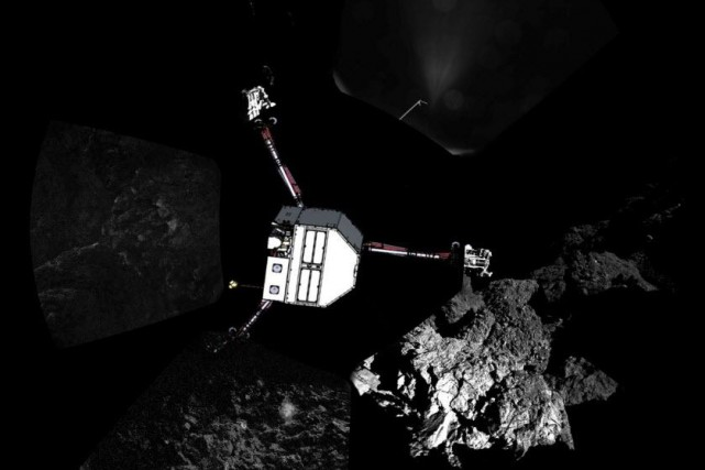 Le robot Philae... (PHOTO ESA/Rosetta/Philae/CIVA/AFP)