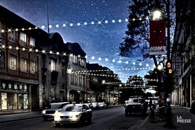 L'installation des guirlandes devant prendre 24 heures, celles-ci... (Image fournie par la Société de développement du boulevard Saint-Laurent)