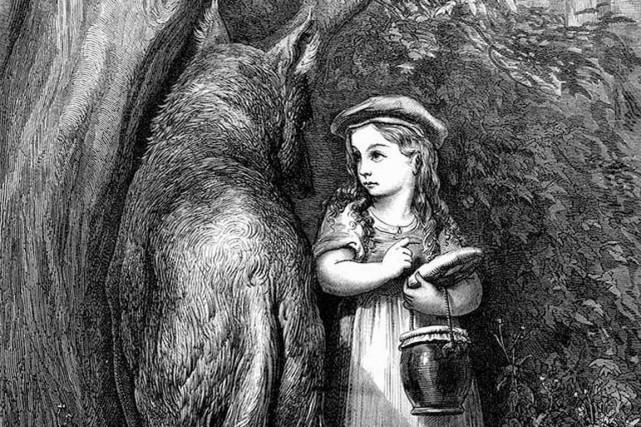 Le regard de Tahar Ben Jelloun se pose... (Photo : Tirée de Wikipedia, illustration de Gustave Doré© de 1867. Le petit Chaperon rouge)