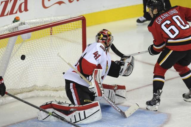 Craig Anderson a donné deux buts aux Flames... (USA TODAY Sports)