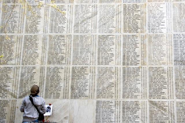 Une personne est photographiée devant le mémorial où... (PHOTO Martin BERNETTI, ARCHIVES AFP)