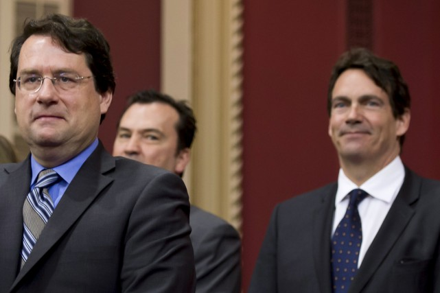 Bernard Drainville (à gauche) et Pierre Karl Péladeau... (Photo archives La Presse Canadienne)