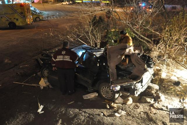 L'accident est survenu vers 2 h 15 dans... (Photo Sylvain Ryan, collaboration spéciale)