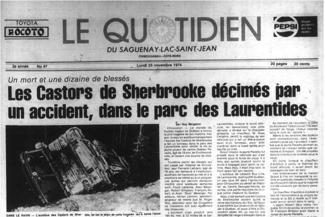 Le 24 novembre 1974, une tragédie frappait le petit monde de la Ligue de hockey... ((Archives))
