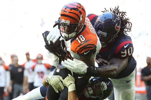 A.J. Green (18) a disputé son meilleur match... (Photo Matthew Emmons, USA Today Sports)