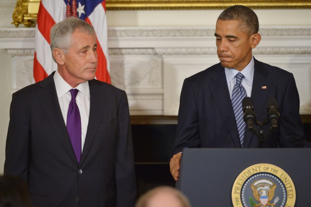 MM.Obama (à droite) et Hagel se sont exprimés... (PHOTO MANDEL NGAN, AFP)