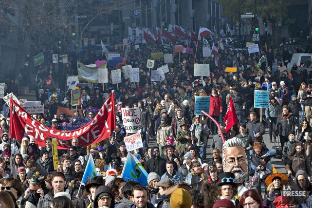 La manifestation contre l'austérité à Montréal du 31... (Photo Patrick Sanfaçon, Archives La Presse)