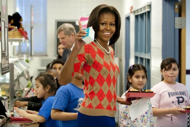 Michelle Obama s'est battue pour que les écoliers... (PHOTO SAUL LOEB, ARCHIVES AFP)