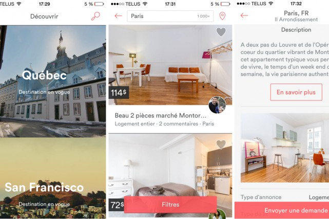 Le site de location de maisons et d'appartements Airbnb n'a plus besoin de... (Photo tirée de l'application)
