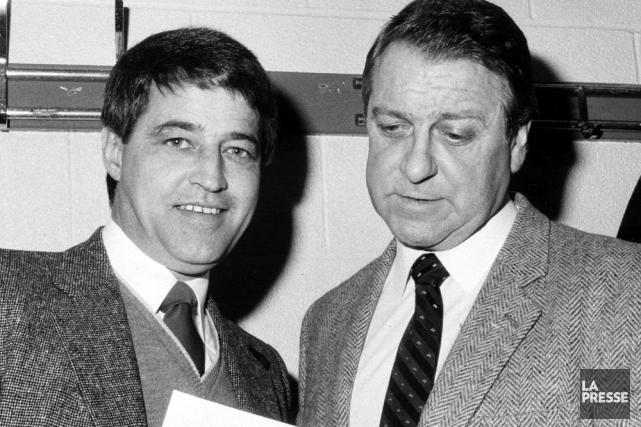 Gilles Tremblay avec l'entraîneur des Nordiques de Québec... (Photo Denis Courville, archives La Presse)