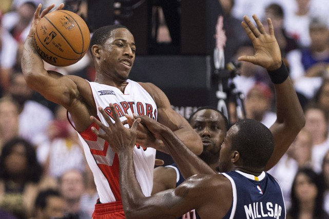 DeMar DeRozan a fourni 27 points alors que les Raptors de Toronto ont mérité... (Photo archives PC)