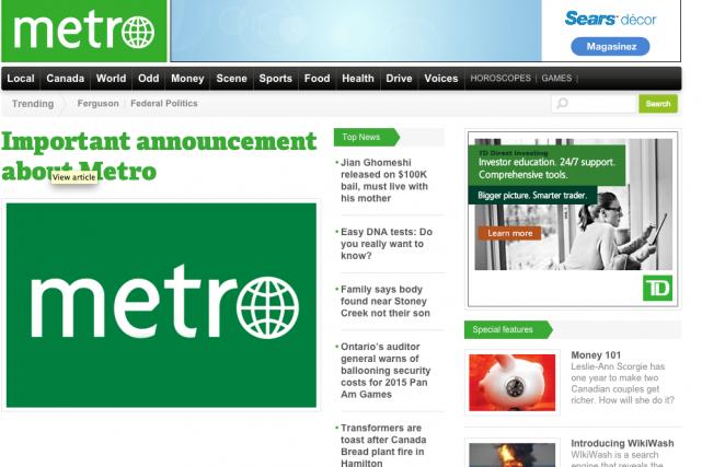 Torstar met fin à la publication en ligne de ses quotidiensMetrodans... (Photo tirée du site web)