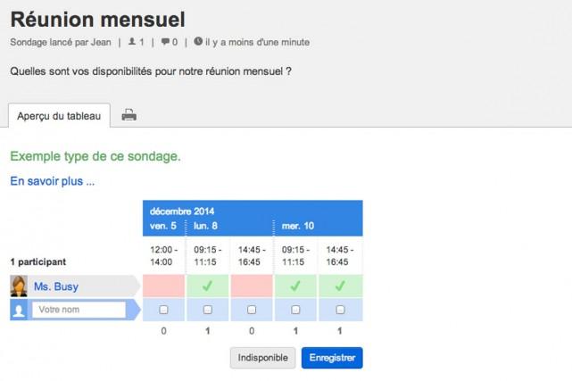 Le site suisse Doodle.com, une plateforme de sondages et d'agendas interactifs,... (IMAGE CAPTURE D'ÉCRAN)