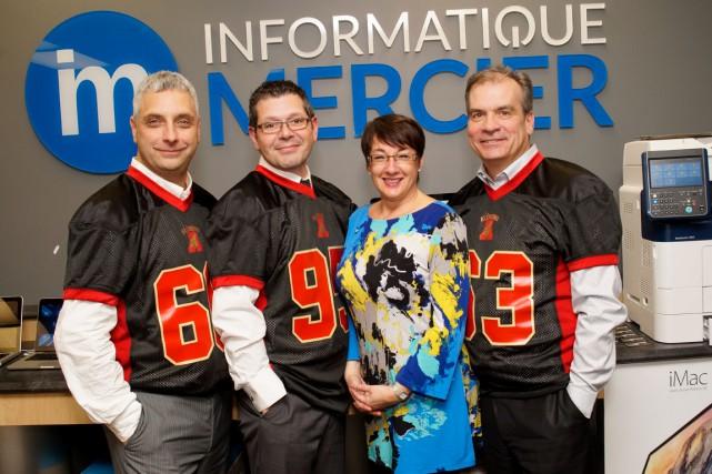 Les trois actionnaires d'Informatique Mercier, Réjean Côté, Sébastien... (Photo fournie par Clodya Turcotte photographe)