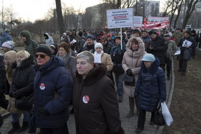 Il s'agit de la deuxième manifestation de protestation... (Photo Alexander Zemlianichenko, AP)