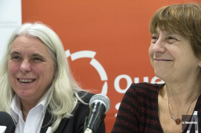 Manon Massé et Françoise David, de Québec solidaire... (PHOTO STÉPHANE LESSARD, ARCHIVES LE NOUVELLISTE)