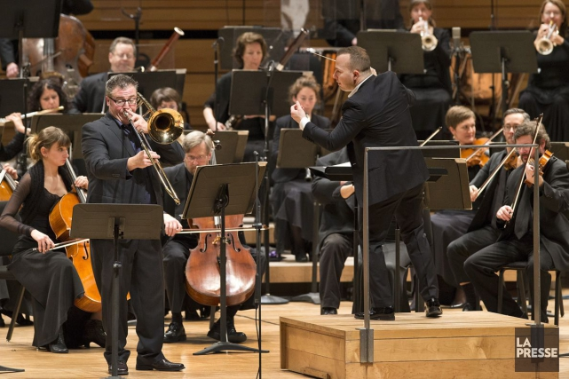 Le tromboniste Patrice Richer et le chef Yannick... (Photo: Robert Skinner, La Presse)