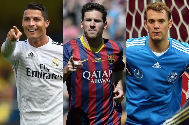 Cristiano Ronaldo, Lionel Messi et Manuel Neuer... (Photos AFP)
