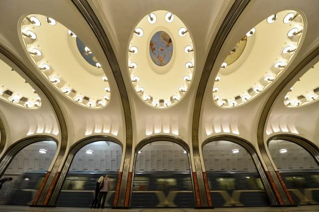 La station Mayakovskaya du métro de Moscou.... (Photo Archives AFP)